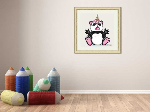 Gold-framed original art print Strawberry Ice Cream Unicone Panda on a creamy background by Jeff West hung in a child's room