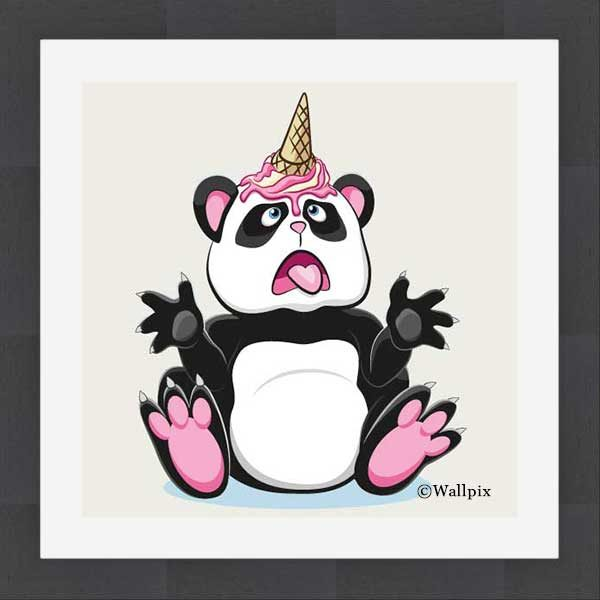 Slate-framed original art print Strawberry Ice Cream Unicone Panda on a creamy background by Jeff West hung in a child's room