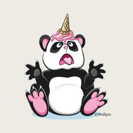 Unframed original art print Strawberry Ice Cream Unicone Panda on a creamy by Jeff West