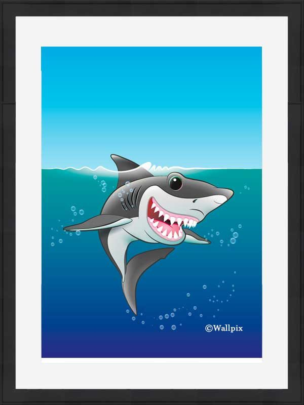 Black-framed original art print Shark Fin Fun by Jeff West