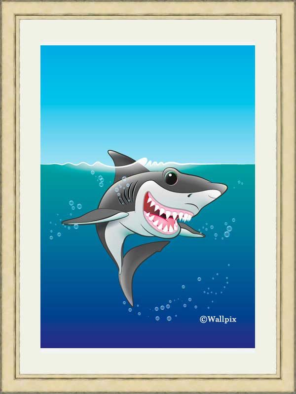Gold-framed original art print Shark Fin Fun by Jeff West