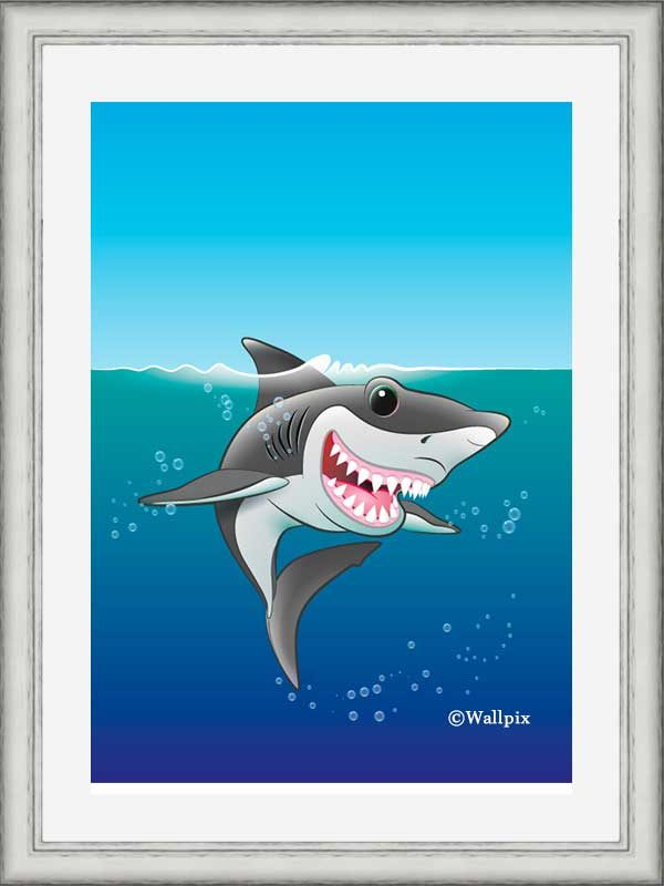 Silver-framed original art print Shark Fin Fun by Jeff West