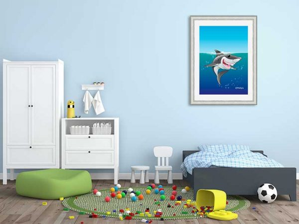 Silver-framed original art print Shark Fin Fun by Jeff West hung in a child's room