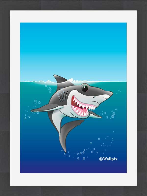 Slate-framed original art print Shark Fin Fun by Jeff West hung in a child's room