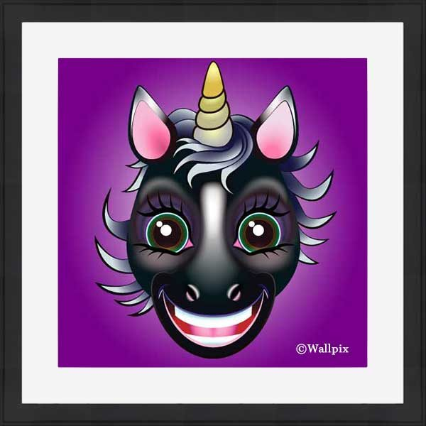 Black-framed original art print URU Black Beauty Unicorn on a violet background by Jeff West