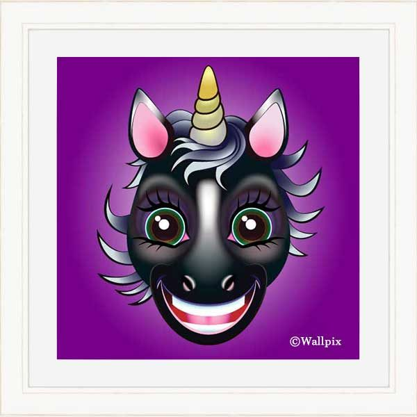 Cream-framed original art print URU Black Beauty Unicorn on a violet background by Jeff West