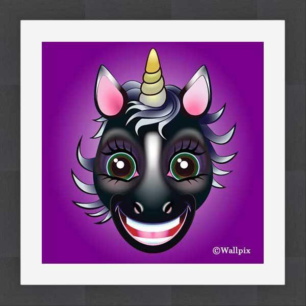 Slate-framed original art print URU Black Beauty Unicorn on a violet background by Jeff West