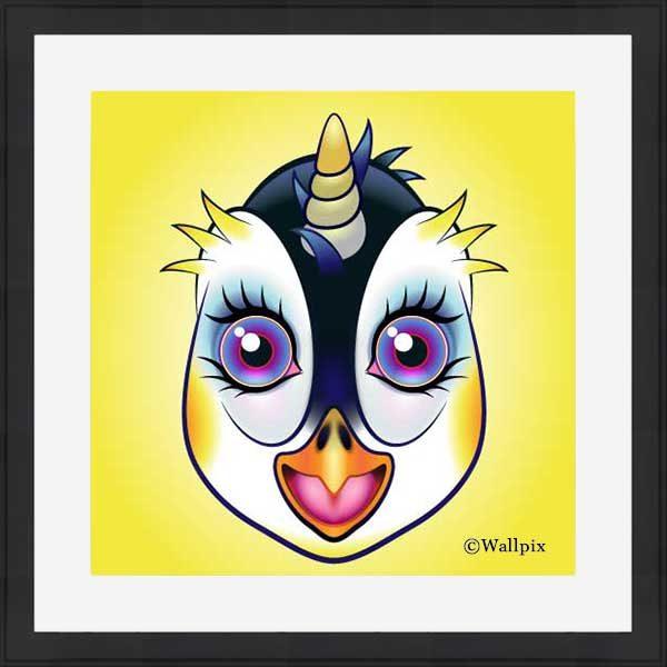 Black-framed original art print URU Penguinicorn penguin unicorn on a yellow background by Jeff West