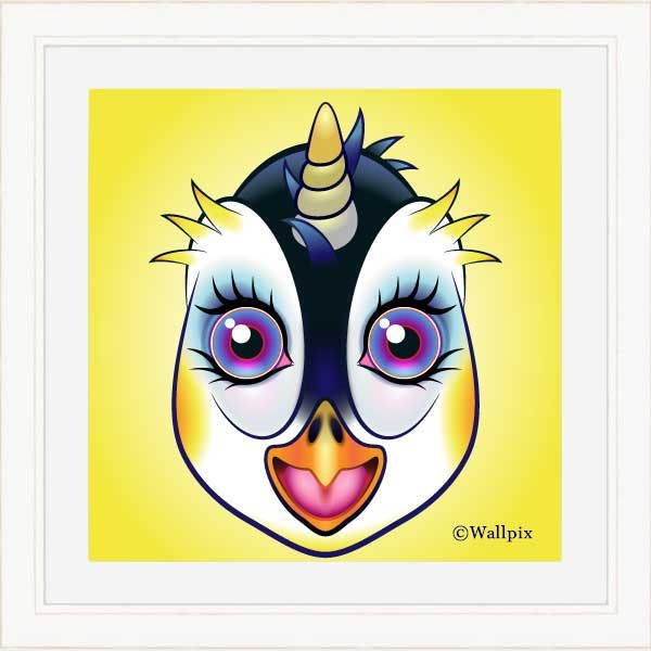 Cream-framed original art print URU Penguinicorn penguin unicorn on a yellow background by Jeff West