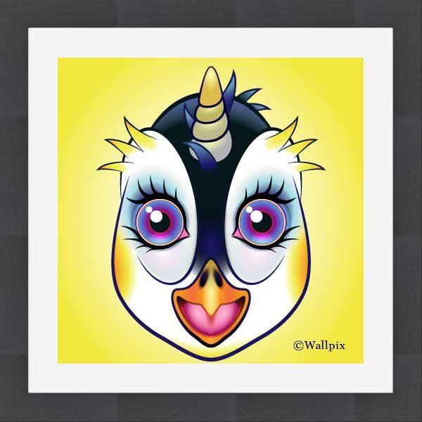 Slate-framed original art print URU Penguinicorn penguin unicorn on a yellow background by Jeff West