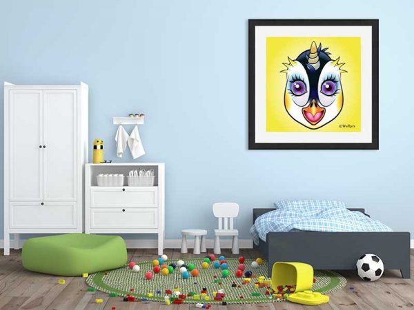 Black-framed original art print URU Penguinicorn penguin unicorn on a yellow background by Jeff West hung in a child's room