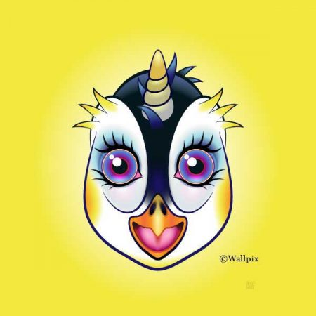 Unframed original art print URU Penguinicorn penguin unicorn on a yellow background by Jeff West