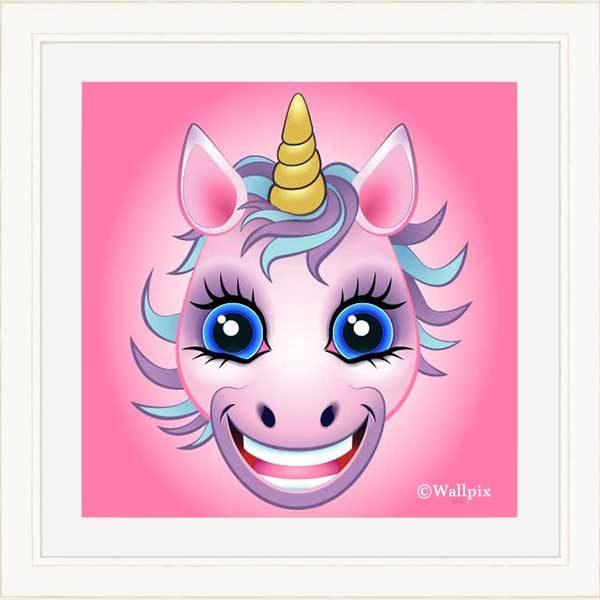Cream-framed original art print URU Pink Unicorn on a pink background by Jeff West