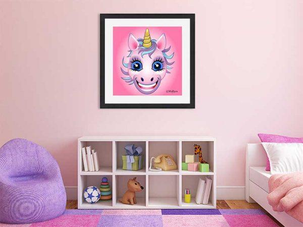 Black-framed original art print URU Pink Unicorn on a pink background by Jeff West