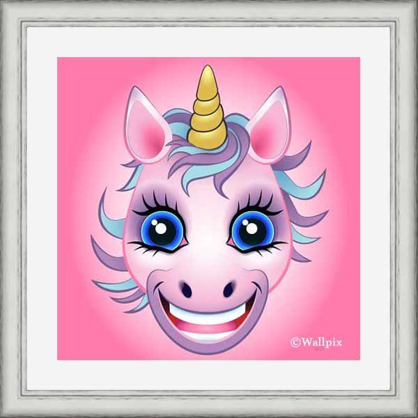 Silver-framed original art print URU Pink Unicorn on a pink background by Jeff West