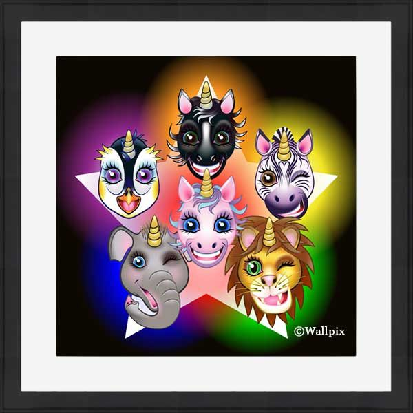 Black-framed original art print URU URA Star unicorns by Jeff West