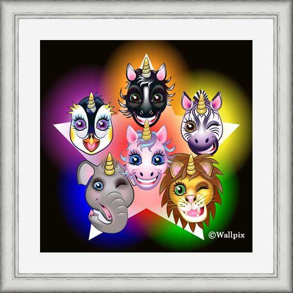 Silver-framed original art print URU URA Star unicorns by Jeff West