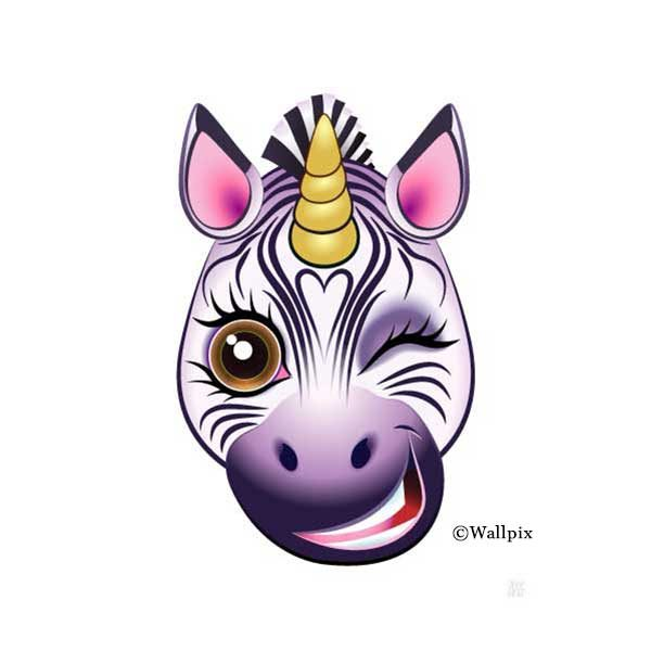Unframed original art print URU Zebricorn (zebra unicorn) on a white background by Jeff West