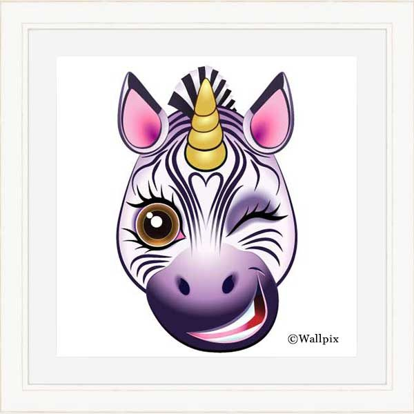 Cream-framed original art print URU Zebricorn (zebra unicorn) on a white background by Jeff West
