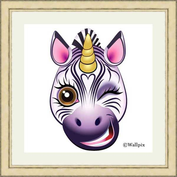 Gold-framed original art print URU Zebricorn (zebra unicorn) on a white background by Jeff West