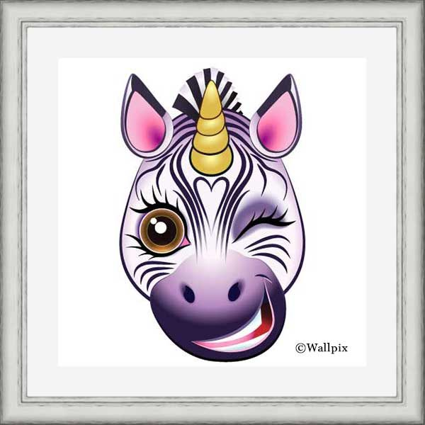 Silver-framed original art print URU Zebricorn (zebra unicorn) on a white background by Jeff West