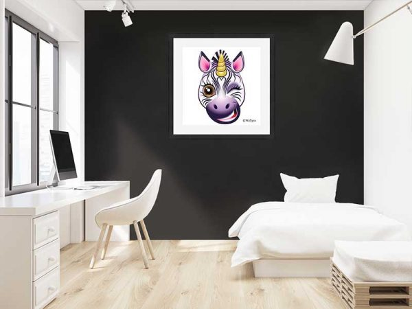 Black-framed original art print URU Zebricorn (zebra unicorn) on a white background by Jeff West hung in a child's room