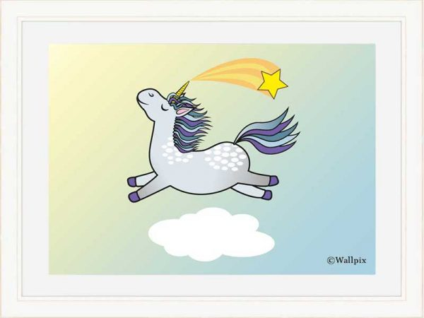 Cream-framed original art print Flying Star Unicorn Dappled Grey in a sunny blue sky by Jeff West
