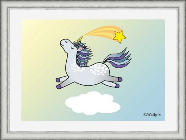 Silver-framed original art print Flying Star Unicorn Dappled Grey in a sunny blue sky by Jeff West