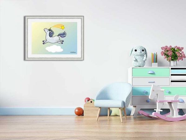 Silver-framed original art print Flying Star Unicorn Dappled Grey in a sunny blue sky by Jeff West in a child's room