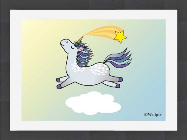 Slate-framed original art print Flying Star Unicorn Dappled Grey in a sunny blue sky by Jeff West