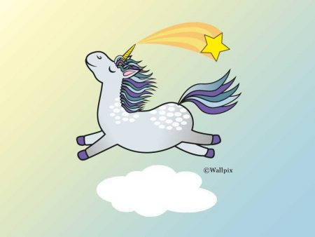 Unframed original art print Flying Star Unicorn Dappled Grey in a sunny blue sky by Jeff West