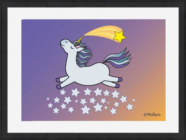 Black-framed original art print Flying Star Unicorn Grey in a starry sunset night sky by Jeff West