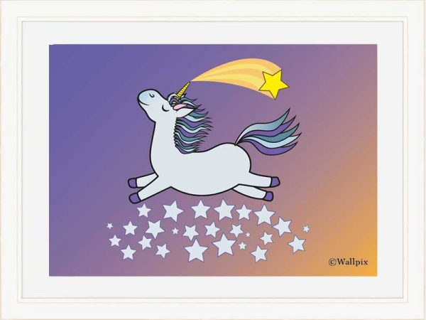 Cream-framed original art print Flying Star Unicorn Grey in a starry sunset night sky by Jeff West