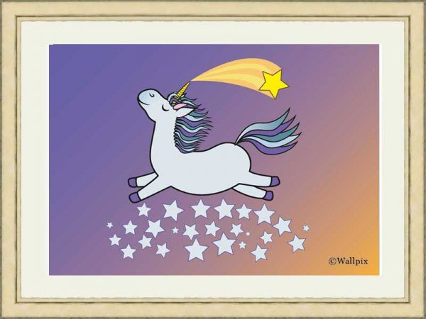 Gold-framed original art print Flying Star Unicorn Grey in a starry sunset night sky by Jeff West