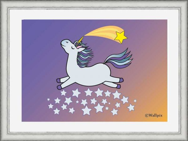 Silver-framed original art print Flying Star Unicorn Grey in a starry sunset night sky by Jeff West