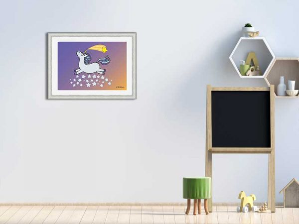 Silver-framed original art print Flying Star Unicorn Grey in a starry sunset night sky by Jeff West in a child's room