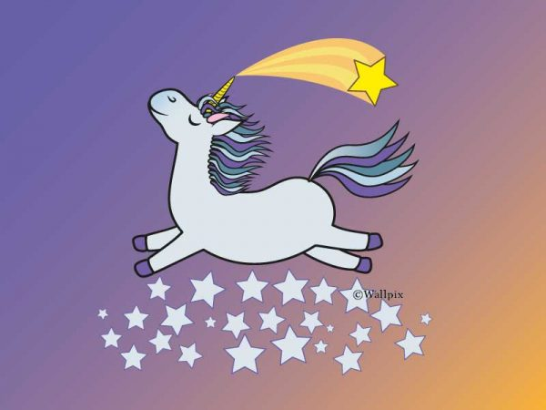 Unframed original art print Flying Star Unicorn Grey in a starry sunset night sky by Jeff West