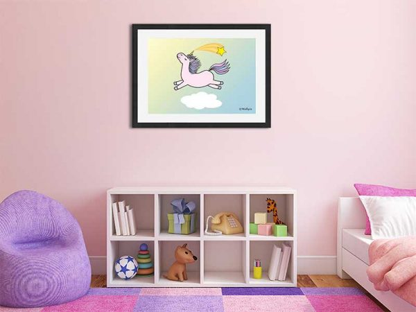 Black-framed original art print Flying Star Unicorn Candy Pink in a sunny blue sky by Jeff West in a child's room