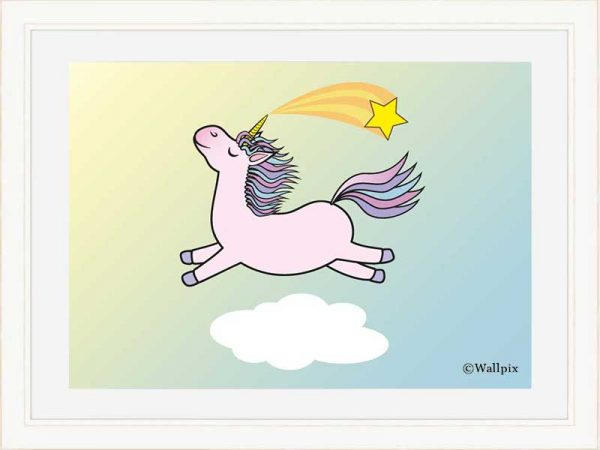 Cream-framed original art print Flying Star Unicorn Candy Pink in a sunny blue sky by Jeff West