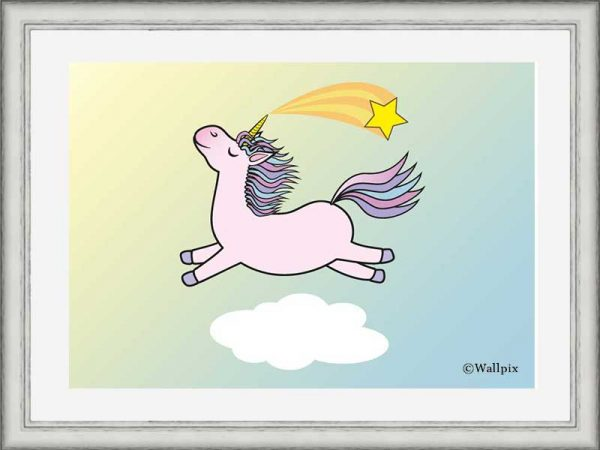 Silver-framed original art print Flying Star Unicorn Candy Pink in a sunny blue sky by Jeff West