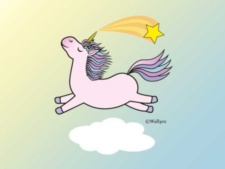 Unframed original art print Flying Star Unicorn Candy Pink in a sunny blue sky by Jeff West