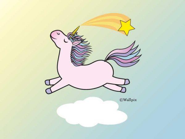 Unframed original art print Flying Star Unicorn Candy Pink in a sunny blue sky by Jeff West