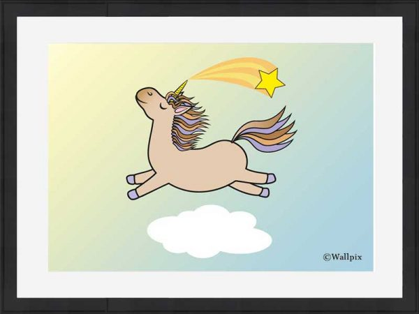 Black-framed original art print Flying Star Unicorn Toffee/Caramel/Beige in a sunny blue sky by Jeff West