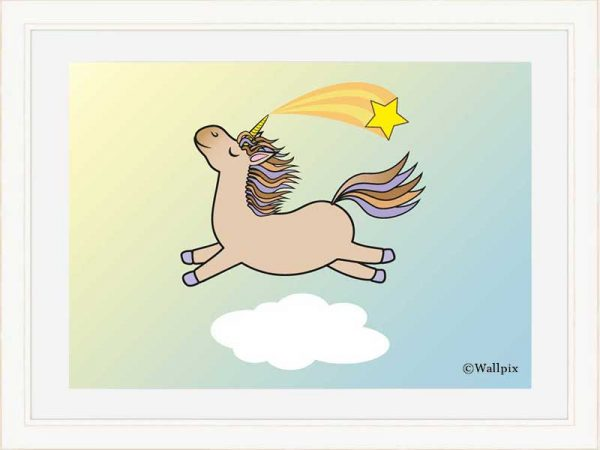 Cream-framed original art print Flying Star Unicorn Toffee/Caramel/Beige in a sunny blue sky by Jeff West