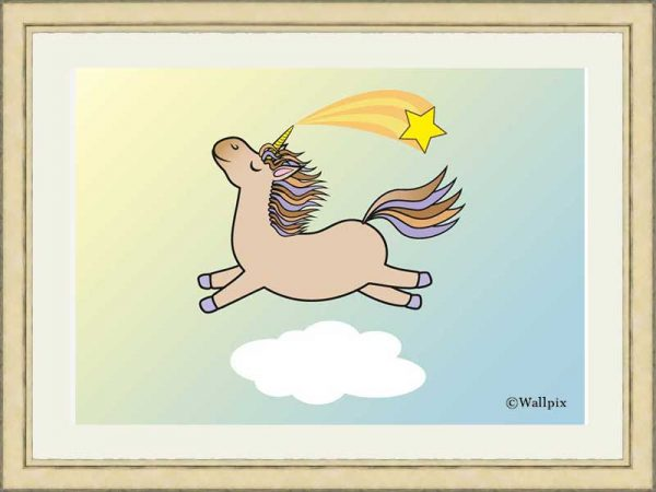 Gold-framed original art print Flying Star Unicorn Toffee/Caramel/Beige in a sunny blue sky by Jeff West