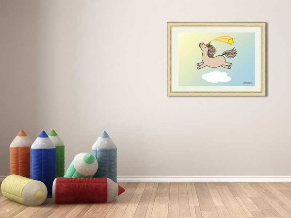 Cream-framed original art print Flying Star Unicorn Toffee/Caramel/Beige in a sunny blue sky by Jeff West in a child's room