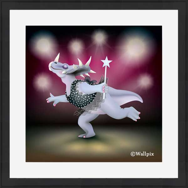 Black-framed original art print of Dancing Fairy Dinosaur Black Glitter on Ruby by Jeff West