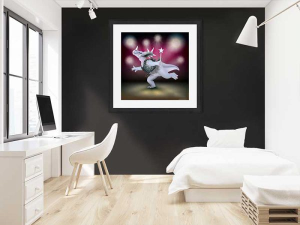 Cream-framed original art print of Dancing Fairy Dinosaur Black Glitter on Ruby by Jeff West in a child's room