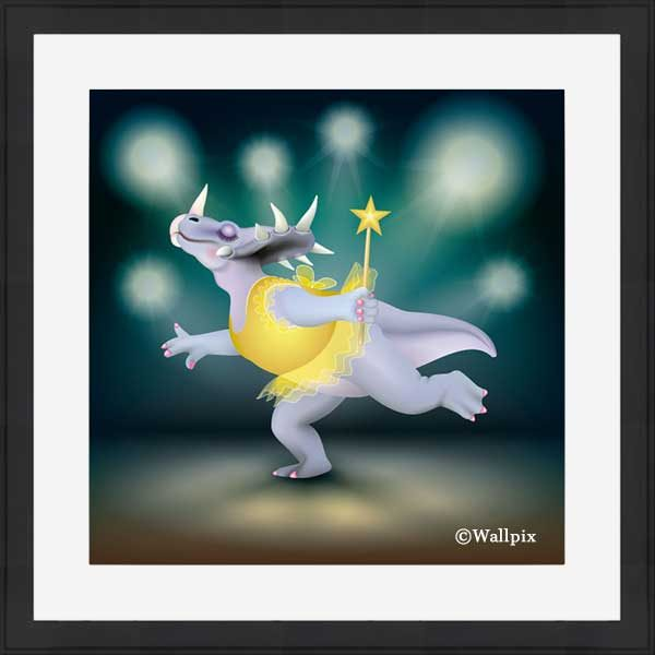 Black-framed original art print of Dancing Fairy Dinosaur Gold on Aqua by Jeff West