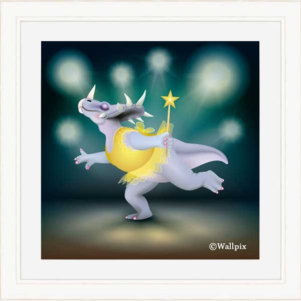 Cream-framed original art print of Dancing Fairy Dinosaur Gold on Aqua by Jeff West
